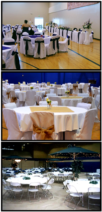 MLK Gym decorated for a variety of parties