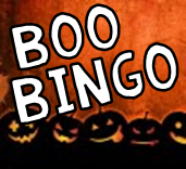 Halloween jack-o-lanterns on orange background with words Boo Bingo