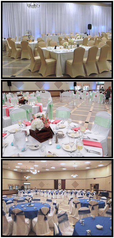 Ballroom decorated in a variety of decor