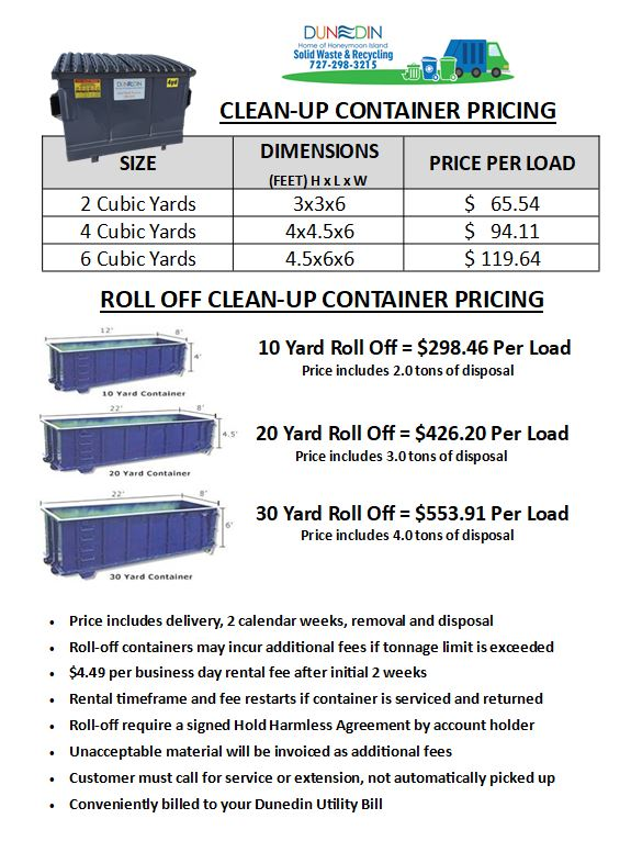 2019-20 Temp Container Rates