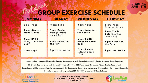 outdoor group exercise schedule